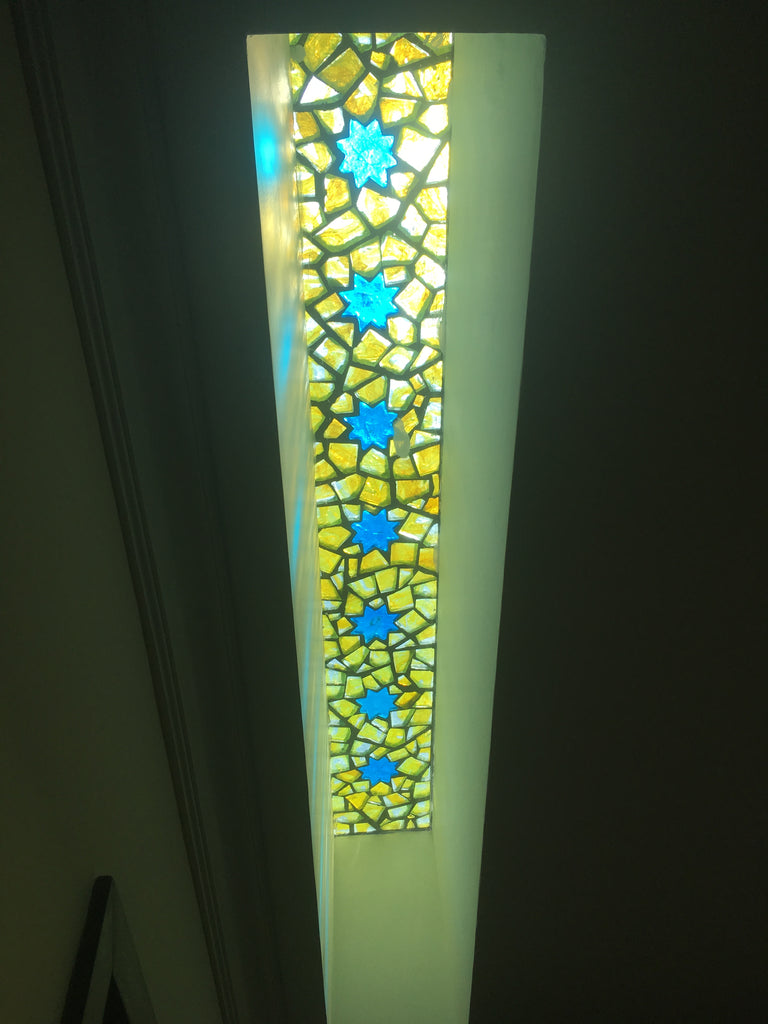 Dalle de Verre skylight 'Starry Yellow Night' panel 2.4m x 0.4m