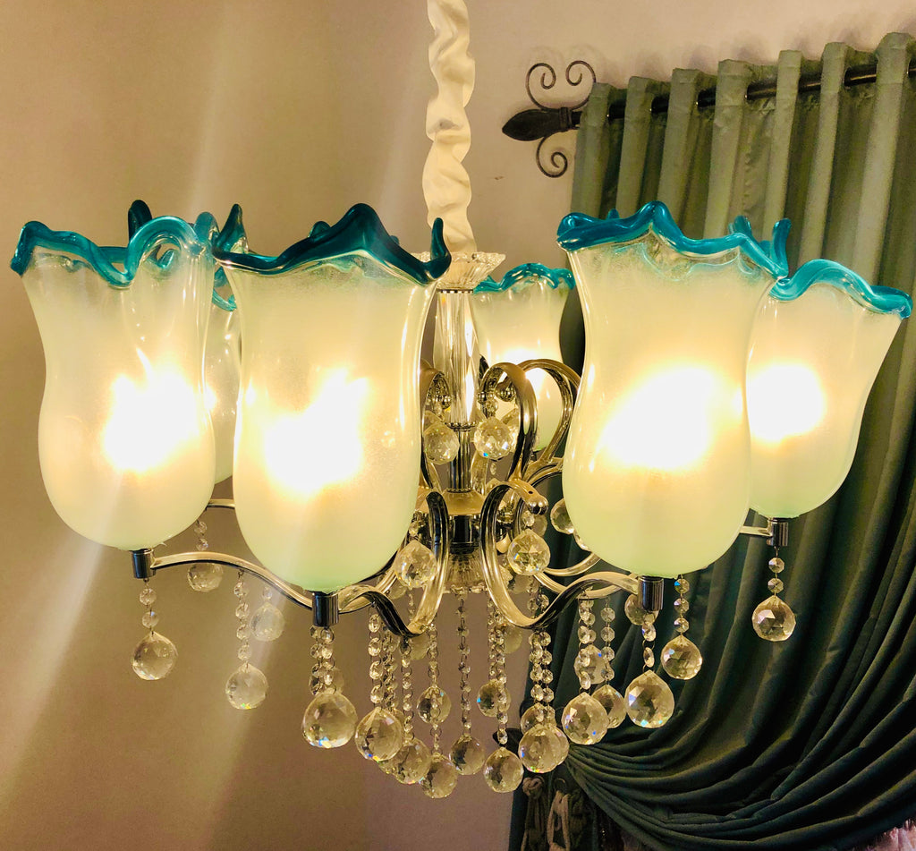 Chandelier modification - addition of 8 light cups w turquoise rim
