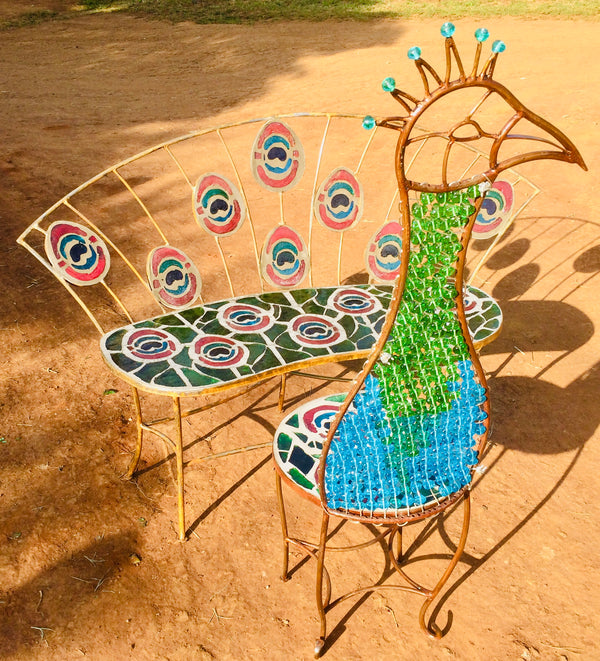 Dalle De Verre Peacock table & chair set