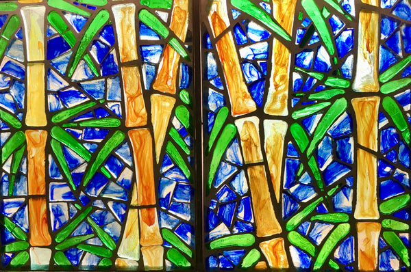 Dalle de Verre 'Bamboo' 6 sets of 2 panels ~ 1.2 x 2m
