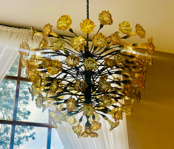 Chandelier 'Gold', bare bulbs, gold flowers, 1.8m