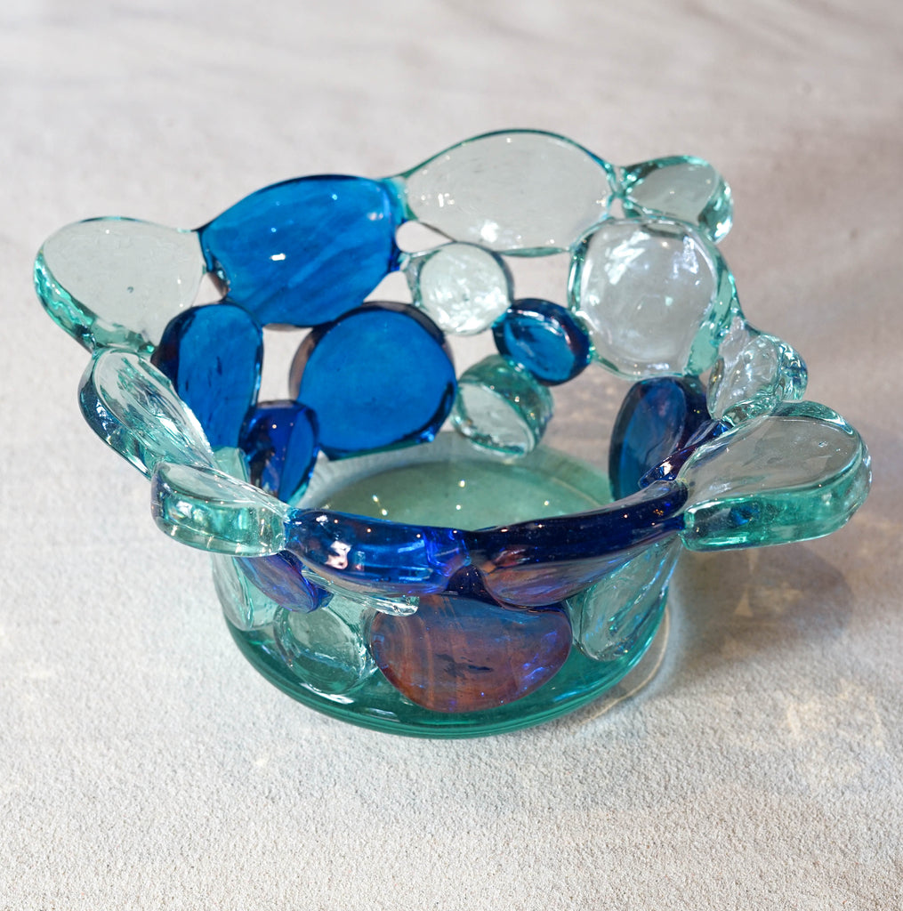 Blown glass - sculpture 'Disc-o' bowl by Ondrej Novotny