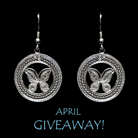 April 2019 giveaway contest for silver jewellery butterfly earrings