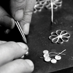 silver filigree making process of  wire bending