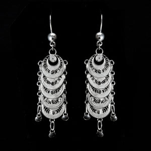 Silver filigree earrings jewellery handmade by Lefkara. Infinity design jewelry from Cyprus.