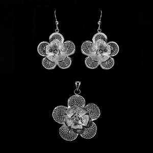 "Handmade Set ""Lily"" - Set -  Lefkara Silver Jewellery  - Handmade silver filigree jewelry made in Cyprus"