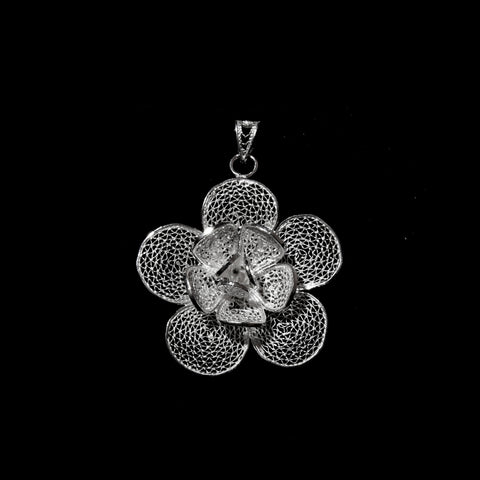 "Handmade Pendant ""Lily"" - Pendant -  Lefkara Silver Jewellery  - Handmade silver filigree jewelry made in Cyprus"