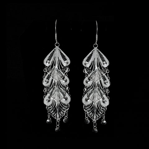 Silver filigree earrings jewellery handmade by Lefkara. Indie design jewelry from Cyprus.