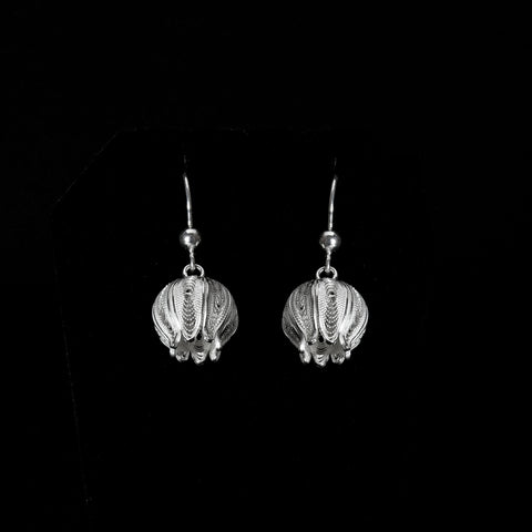 "Handmade Earrings ""Pomegranate"" - Earrings -  Lefkara Silver Jewellery  - Handmade silver filigree jewelry made in Cyprus"
