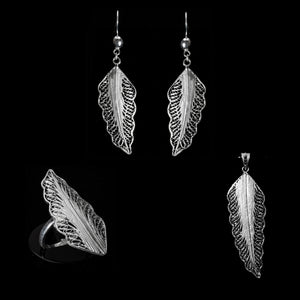 "Handmade Set ""Wing"" - Set -  Lefkara Silver Jewellery  - Handmade silver filigree jewelry made in Cyprus"