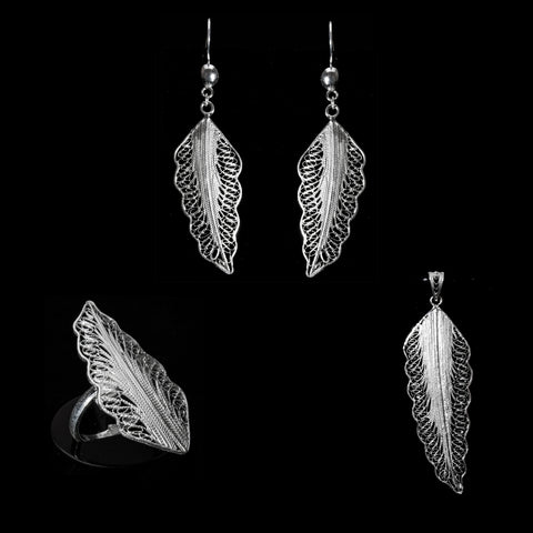 Silver filigree set jewellery handmade by Lefkara. Wing design jewelry from Cyprus.