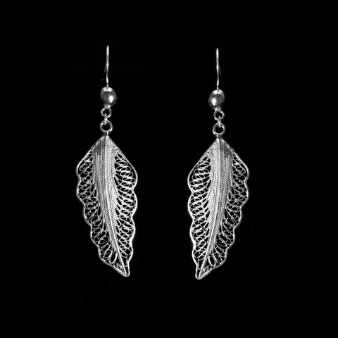 "Handmade Earrings ""Wing"" - Earrings -  Lefkara Silver Jewellery  - Handmade silver filigree jewelry made in Cyprus"