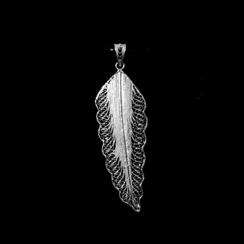 "Handmade Pendant ""Wing"" - Pendant -  Lefkara Silver Jewellery  - Handmade silver filigree jewelry made in Cyprus"