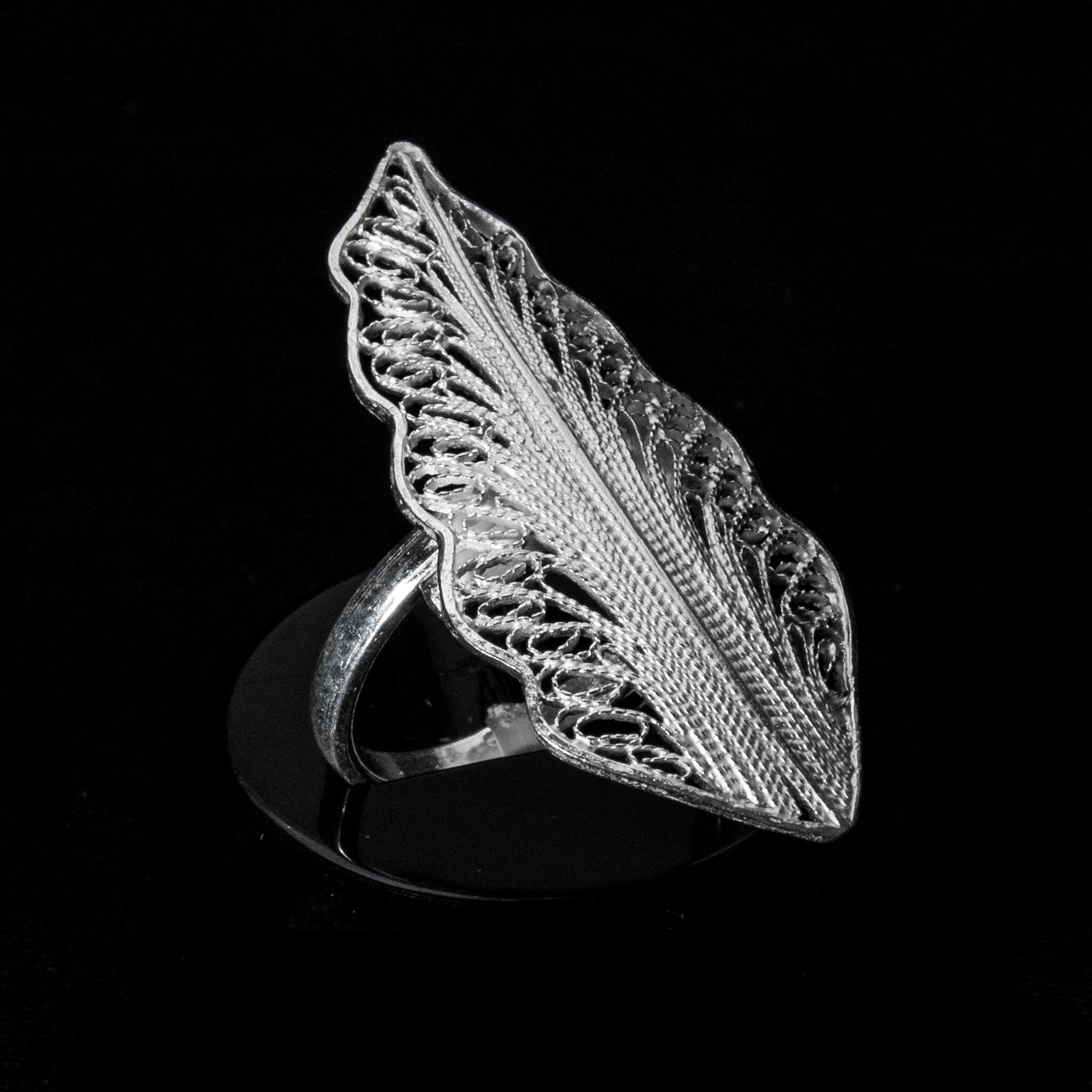 "Handmade Ring ""Wing"" - Ring -  Lefkara Silver Jewellery  - Handmade silver filigree jewelry made in Cyprus"