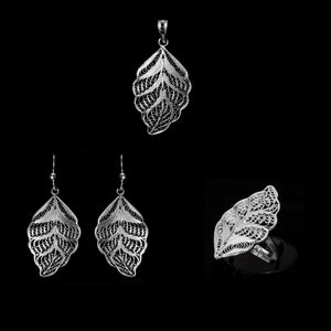 Silver filigree set jewellery handmade by Lefkara. Leaf design jewelry from Cyprus.