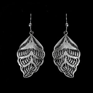 Silver filigree earrings jewellery handmade by Lefkara. Traditional design jewelry from Cyprus.