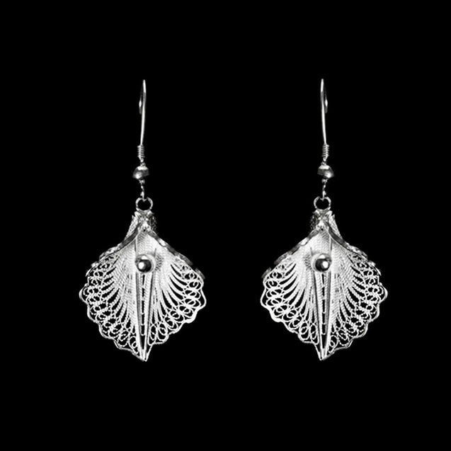 "Handmade Earrings ""Virgin Lotus"" Filigree Silver Jewelry from Cyprus"