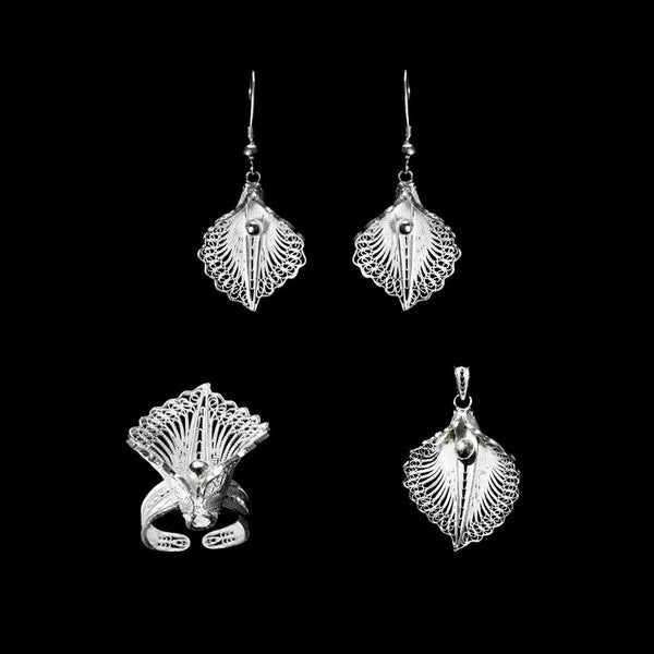"Handmade Set  ""Virgin Lotus"" - Set -  Lefkara Silver Jewellery  - Handmade silver filigree jewelry made in Cyprus"