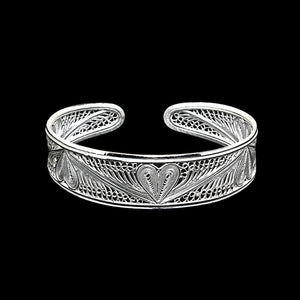 "Handmade Bangle ""Heart"" Filigree Silver Jewelry from Cyprus"