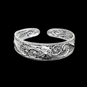 "Handmade Bangle ""Calligraphy"" Filigree Silver Jewelry from Cyprus"