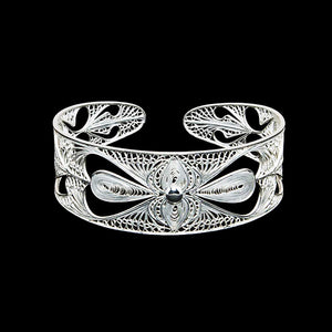 "Handmade Bangle ""Harmony"" Filigree Silver Jewelry from Cyprus"