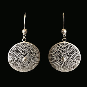 Handmade silver filigree earrings inspired by the Moon surface. Cyprus jewellery art