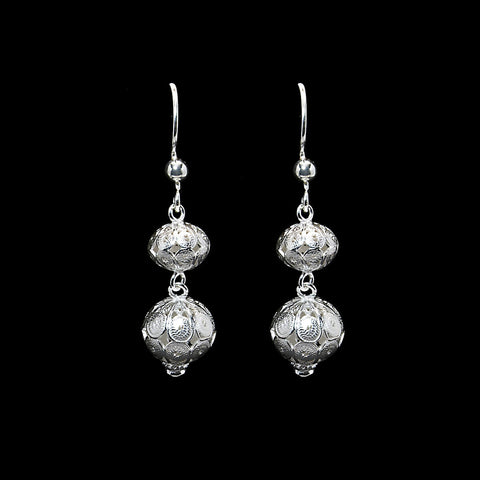 "Handmade Earrings ""Spheres"" - Earrings -  Lefkara Silver Jewellery  - Handmade silver filigree jewelry made in Cyprus"