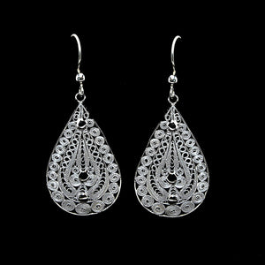 "Handmade Earrings ""Ornament"" - Earrings -  Lefkara Silver Jewellery  - Handmade silver filigree jewelry made in Cyprus"