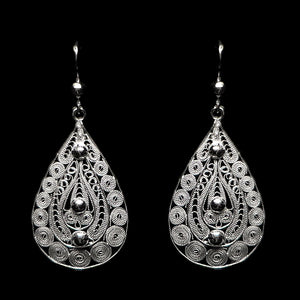 "Handmade Earrings ""Ornament"" Filigree Silver Jewelry from Cyprus"