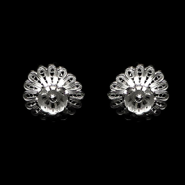 "Handmade Stud Earrings ""Hellebore"" Filigree Silver Jewelry from Cyprus"