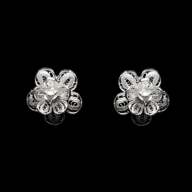 "Handmade Stud Earrings ""Gloxinia"" Filigree Silver Jewelry from Cyprus"