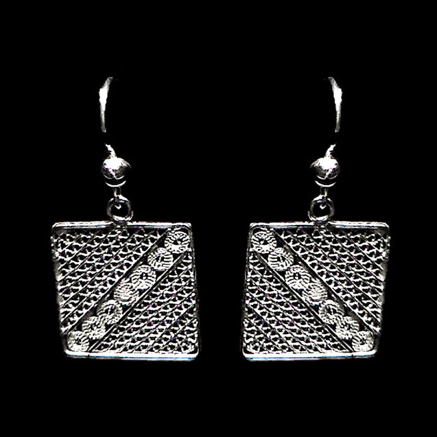 "Handmade Earrings ""Square"" Filigree Silver Jewelry from Cyprus"