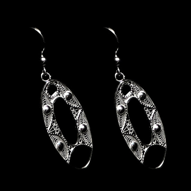 "Handmade Earrings ""Oval"" Filigree Silver Jewelry from Cyprus"
