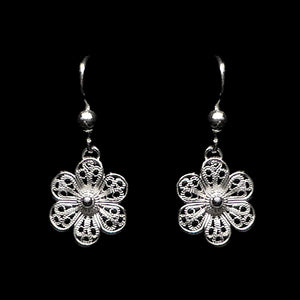 "Handmade Earrings ""Daisy"" Filigree Silver Jewelry from Cyprus"