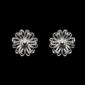 "Handmade Stud Earrings ""Daisy"" Filigree Silver Jewelry from Cyprus"