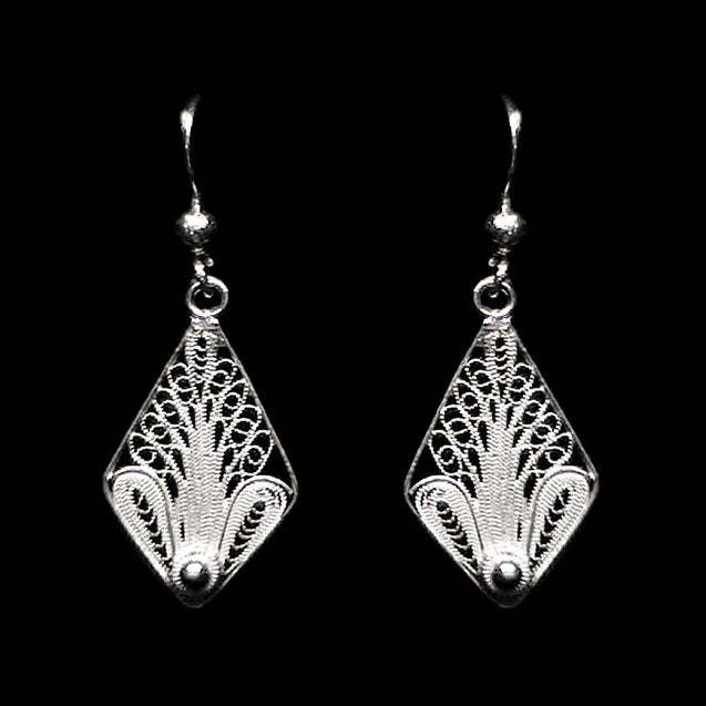 "Handmade Earrings ""Tree"" Filigree Silver Jewelry from Cyprus"