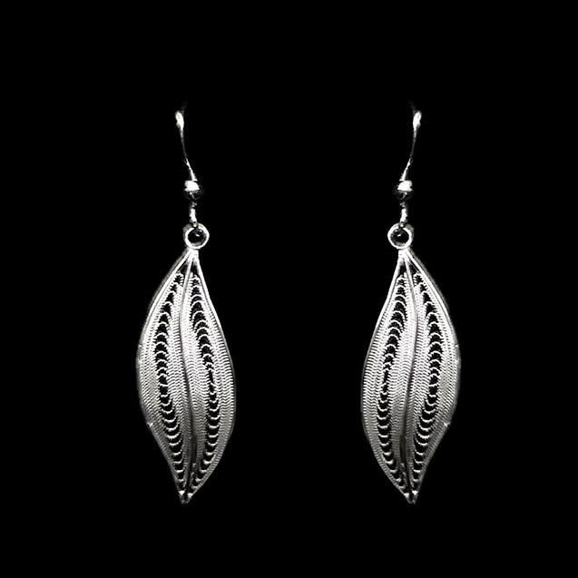 "Handmade Earrings ""Curves"" Filigree Silver Jewelry from Cyprus"