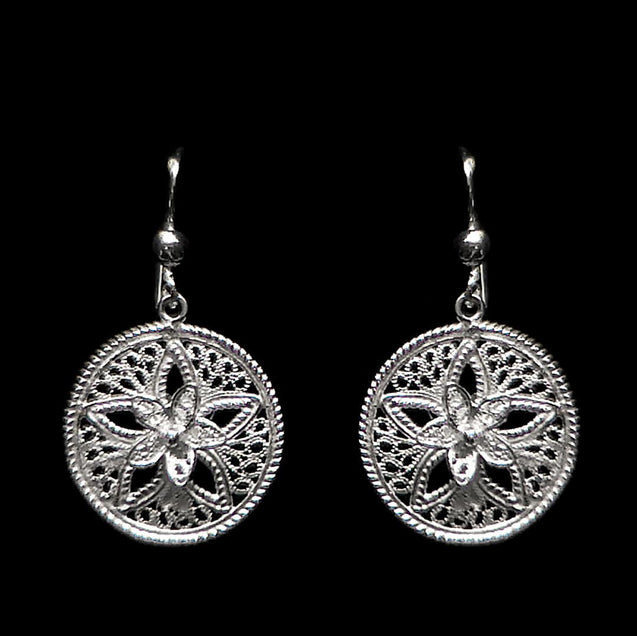 "Handmade Earrings ""Shiny Star"" Filigree Silver Jewelry from Cyprus"