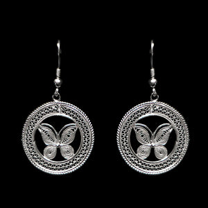 "Handmade Earrings ""Butterfly"" Filigree Silver Jewelry from Cyprus"
