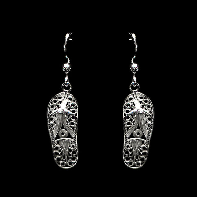 "Handmade Earrings ""Flip Flops"" Filigree Silver Jewelry from Cyprus"