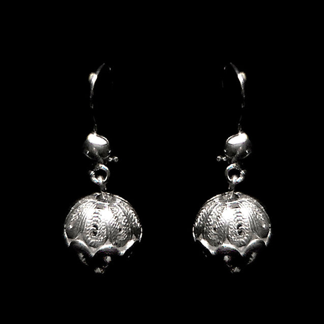 "Handmade Earrings ""Marbles"" Filigree Silver Jewelry from Cyprus"