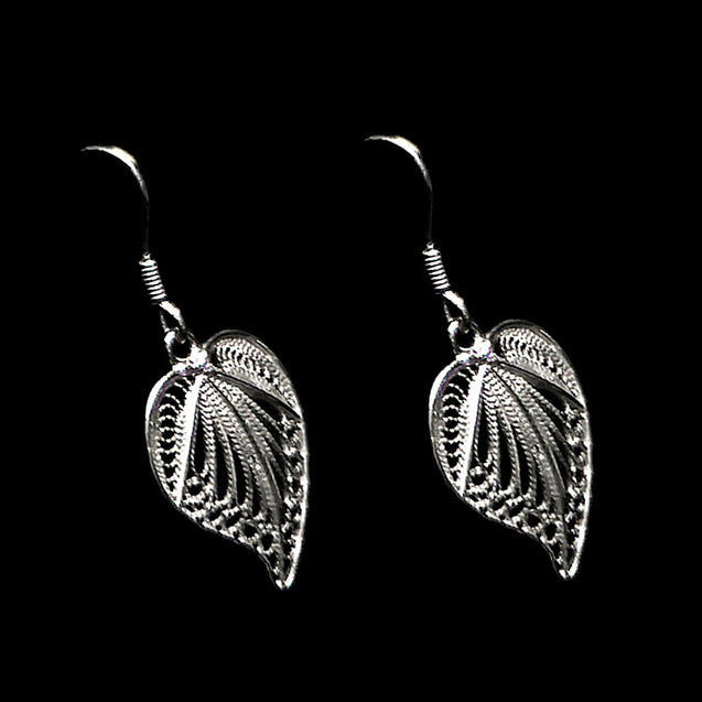 "Handmade Earrings ""Love"" Filigree Silver Jewelry from Cyprus"