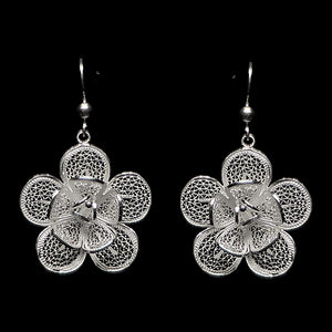"Handmade Earrings ""Lily"" Filigree Silver Jewelry from Cyprus"