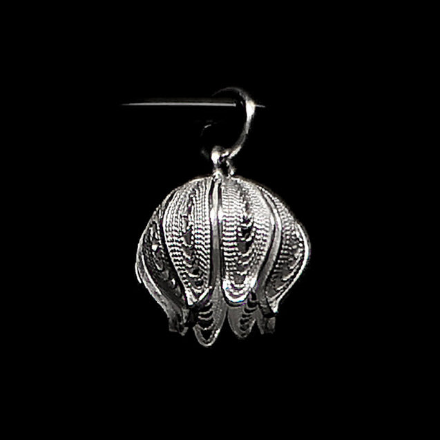 "Handmade Pendant ""Pomegranate"" Filigree Silver Jewelry from Cyprus"