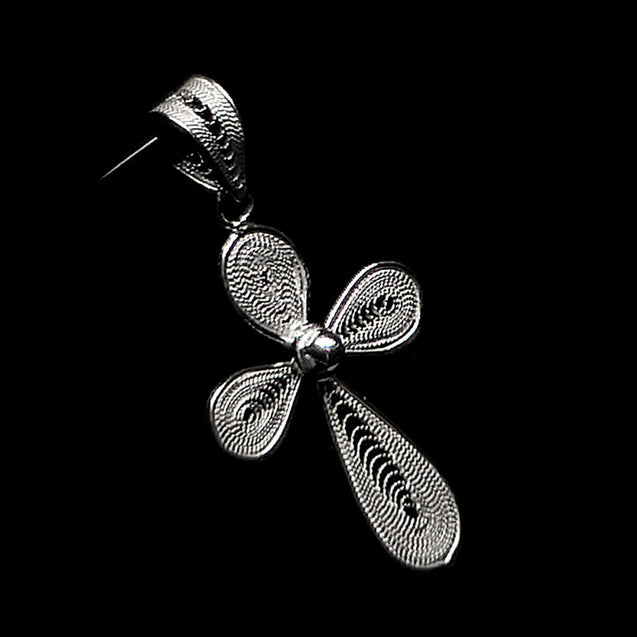 "Handmade Pendant ""Cross"" Filigree Silver Jewelry from Cyprus"
