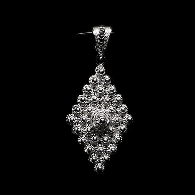 "Handmade Pendant ""Diamond"" Filigree Silver Jewelry from Cyprus"