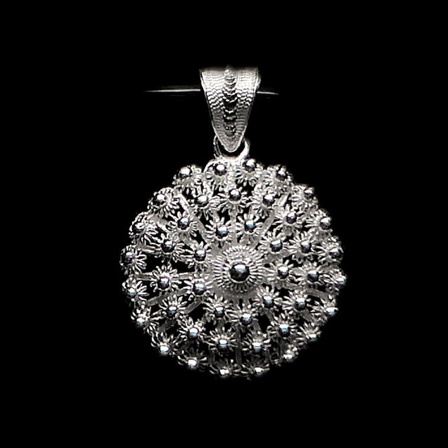 "Handmade Pendant ""Dahlia "" Medium Filigree Silver Jewelry from Cyprus"