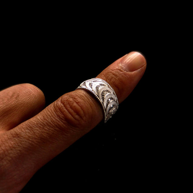 "Handmade Ring ""New Infinity"" Filigree Silver Jewelry from Cyprus"
