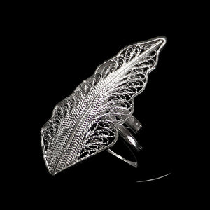 "Handmade Ring ""Wing"" Filigree Silver Jewelry from Cyprus"