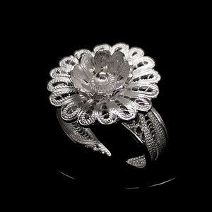 "Handmade Ring ""Hellebore"" Filigree Silver Jewelry from Cyprus"